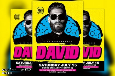 DJ David Club Party Flyer Template - 828603