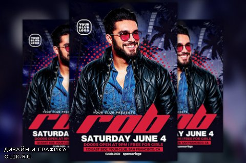 DJ Rob Club Party Flyer Template