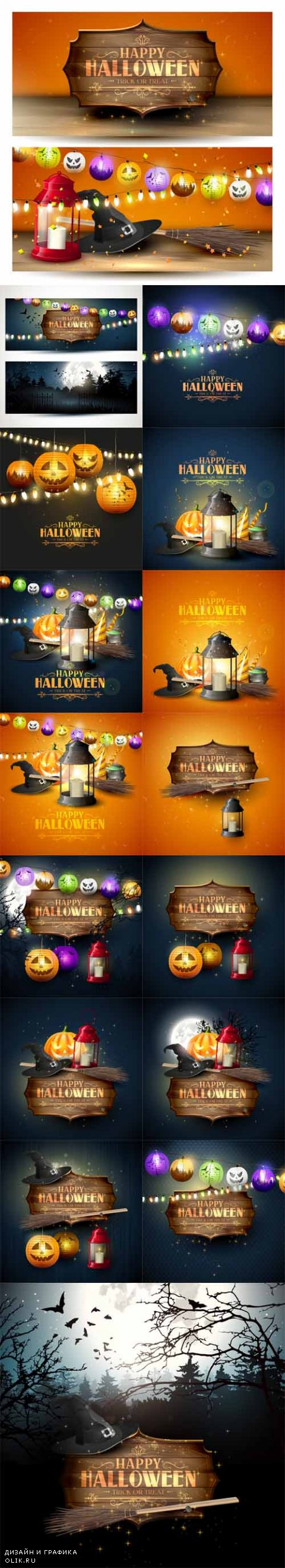 Vector Happy Halloween Greeting Cards 2
