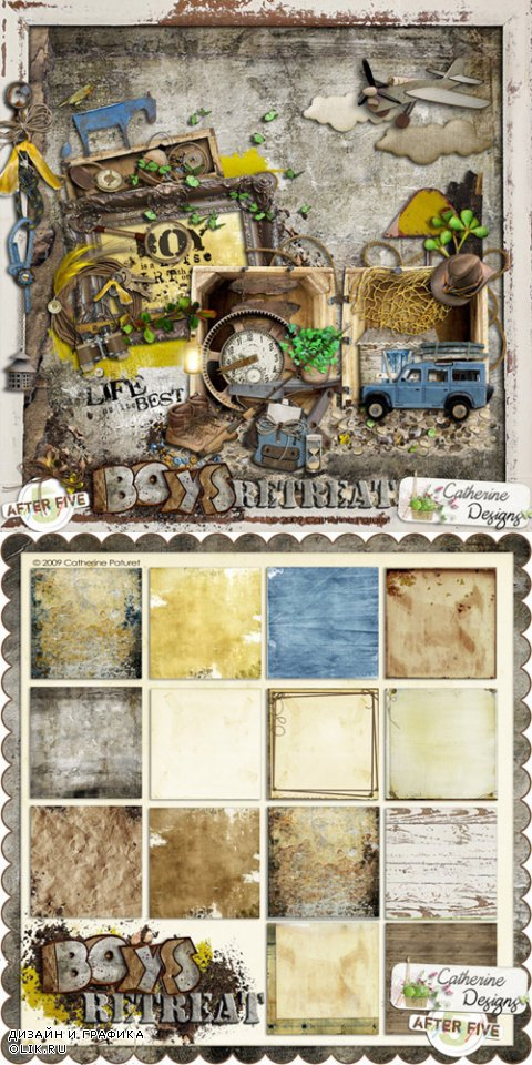 Scrap Kit - Boys Retreat (Alpha, elements, papers)