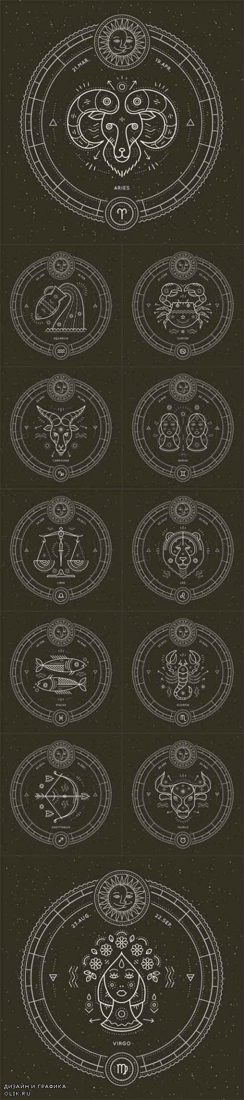 Vector Vintage thin line zodiac signs label