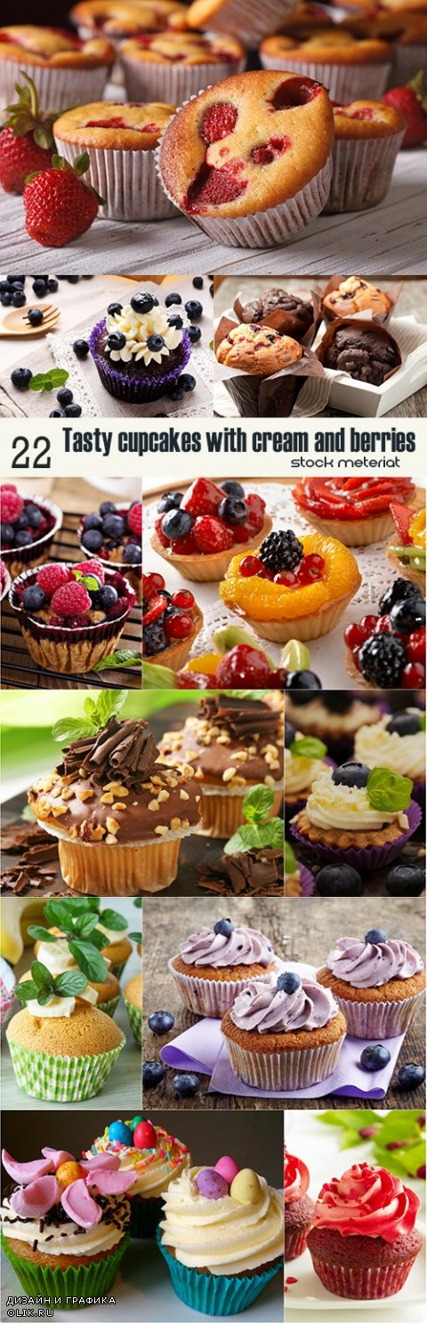 Tasty cupcakes with cream and berries