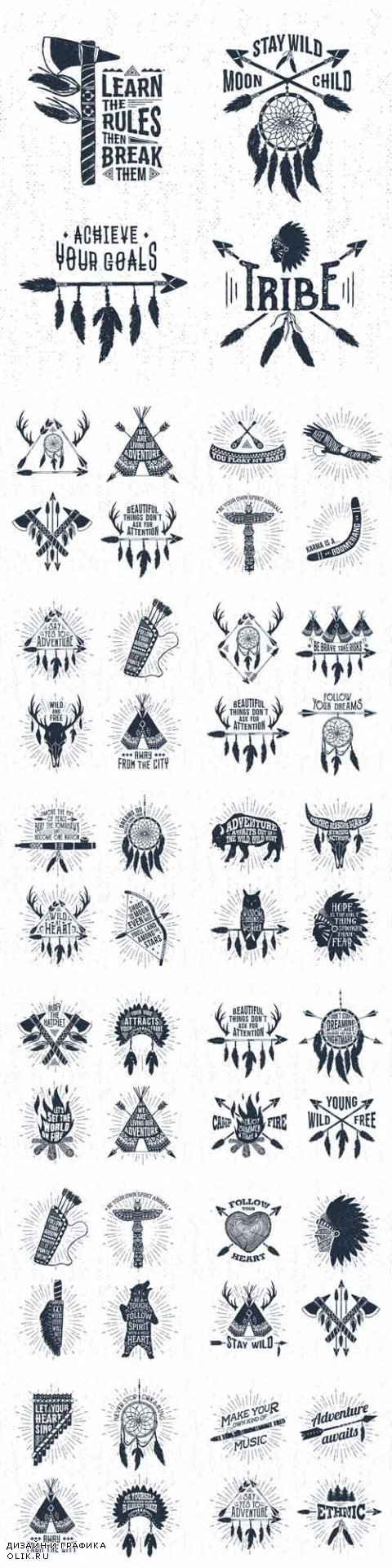 Vector Hand Drawn Tribal Labels