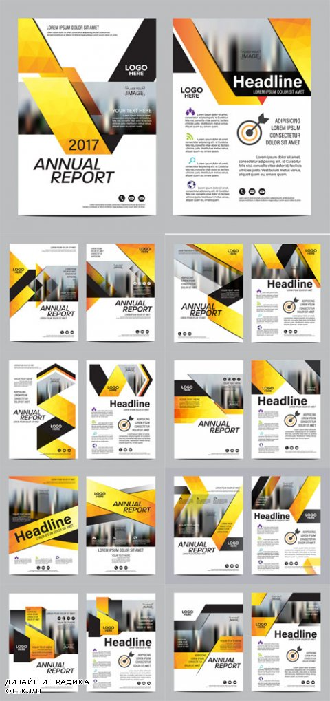 Vector Yellow Brochure Layout Design Templates