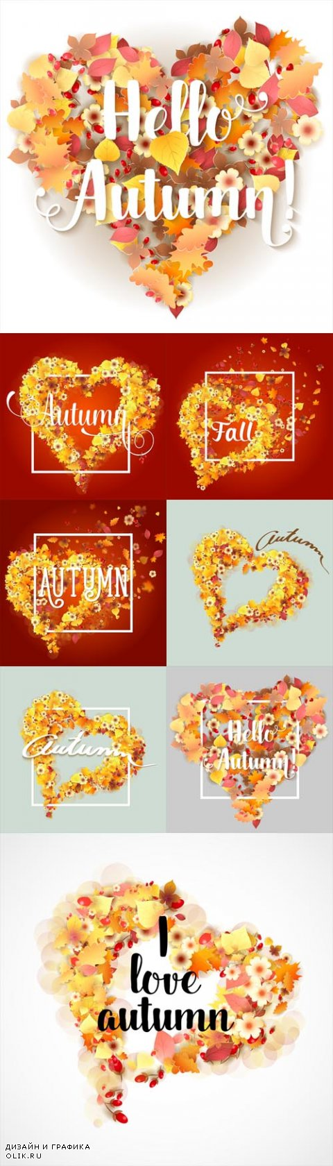 Vecto Autumn Frames in Shape of Heart