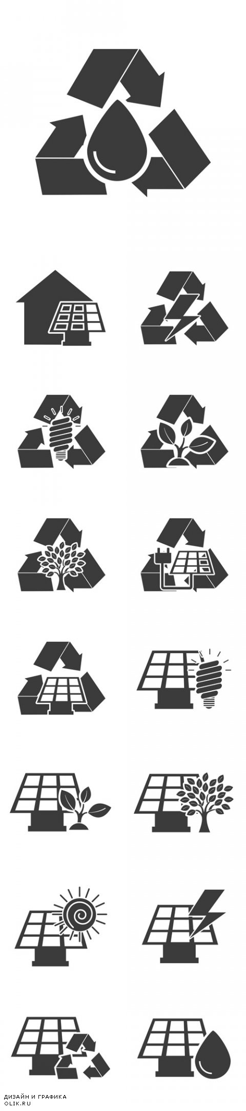 Vector Black Ecology Icons
