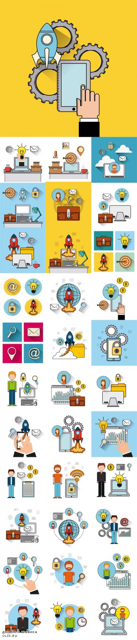 Vector Search Engine Optimization Flat Icons Illustration Design