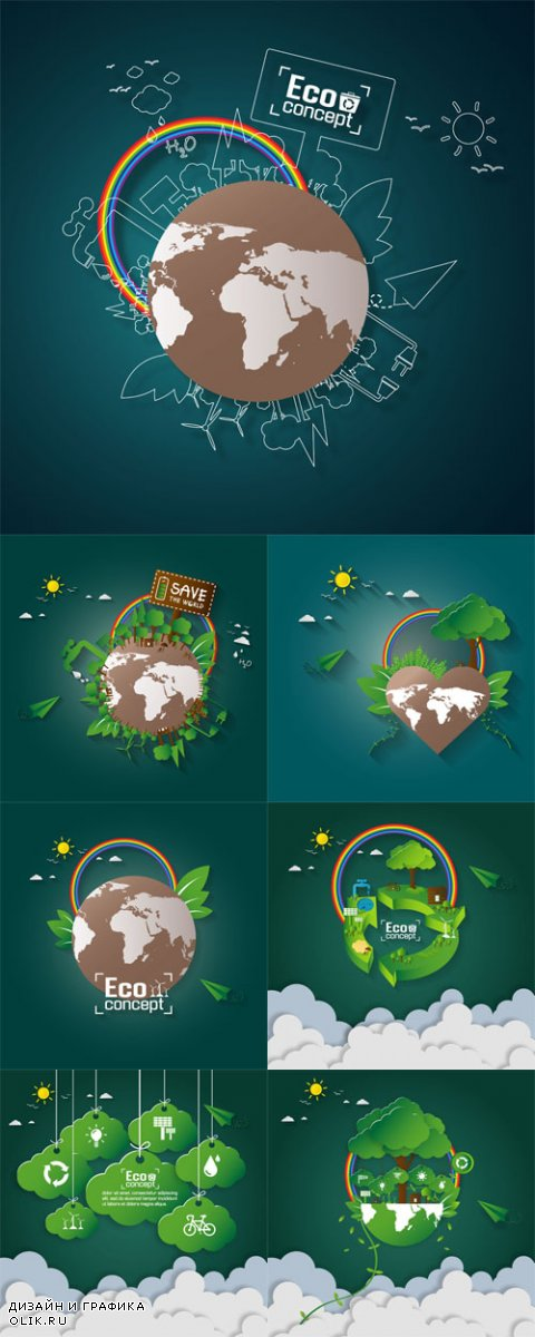 Vector Concept of Green Eco Earth. Paper Art Design