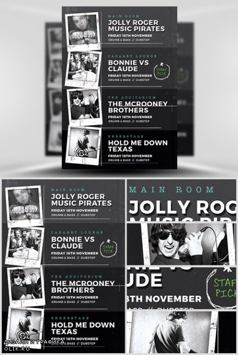 Flyer Template - Indie Club Line Up
