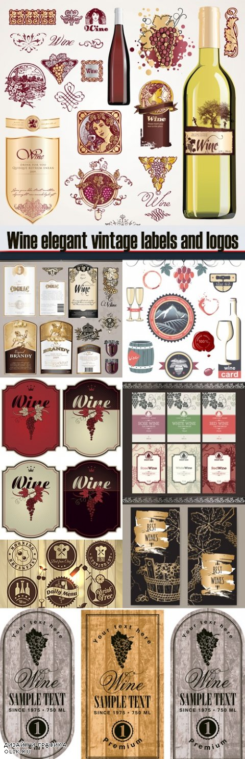 Wine elegant vintage labels and logos