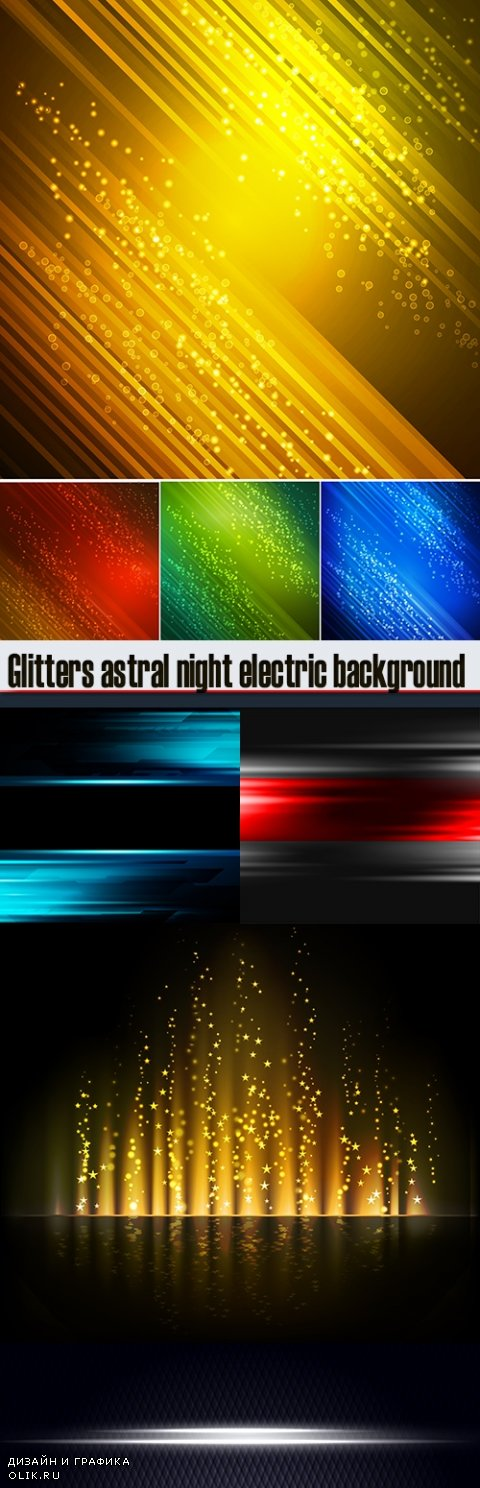Glitters astral night electric background