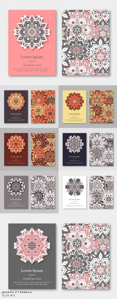 Vector Cards, Flyers, Brochures, Templates with Hand Drawn Mandala