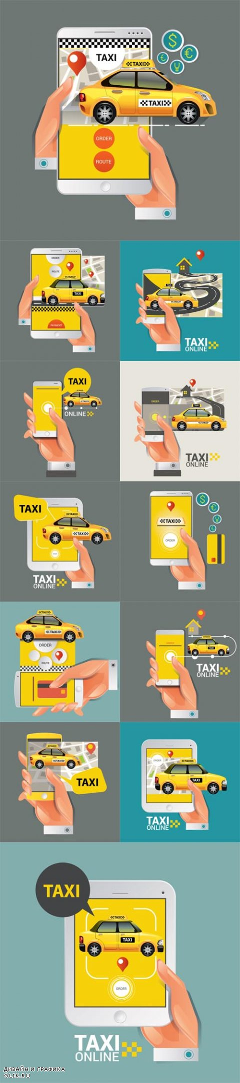 Vector Taxi on line. Taxi sign. Taxi service on smart phone