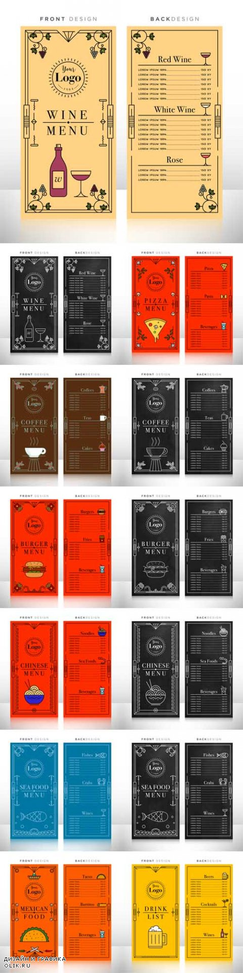 Vector Drink and Food Menu Design Templates