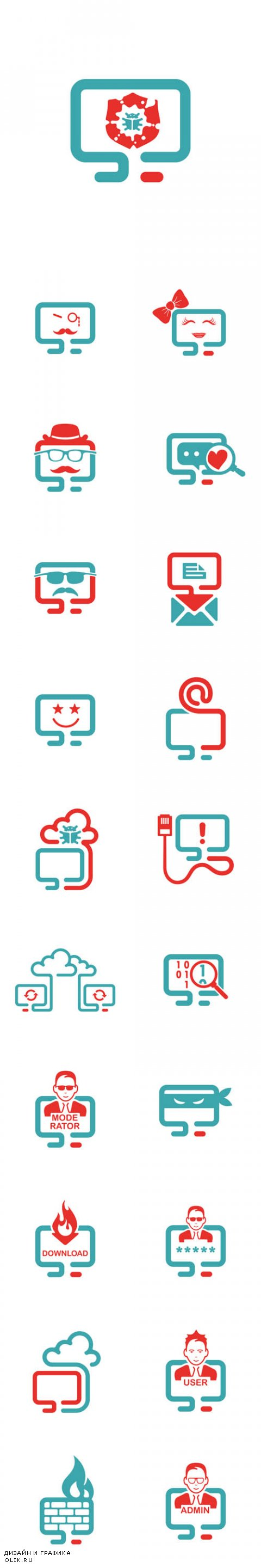 Vector PC Laptop Icons with Different Signs