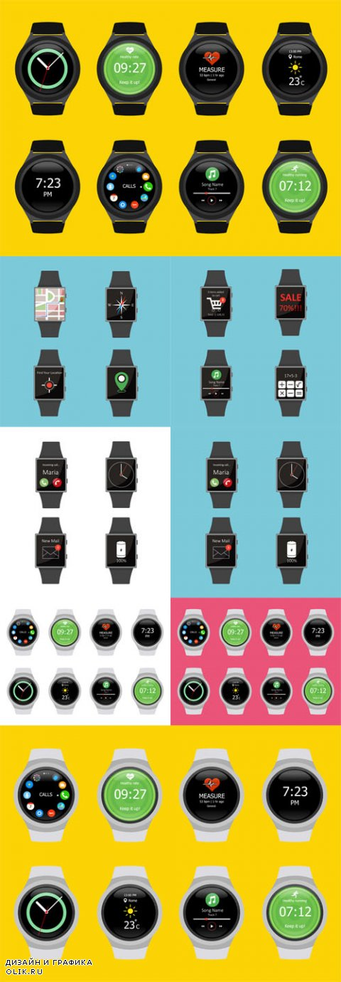 Vector Smart Watches. Icon set