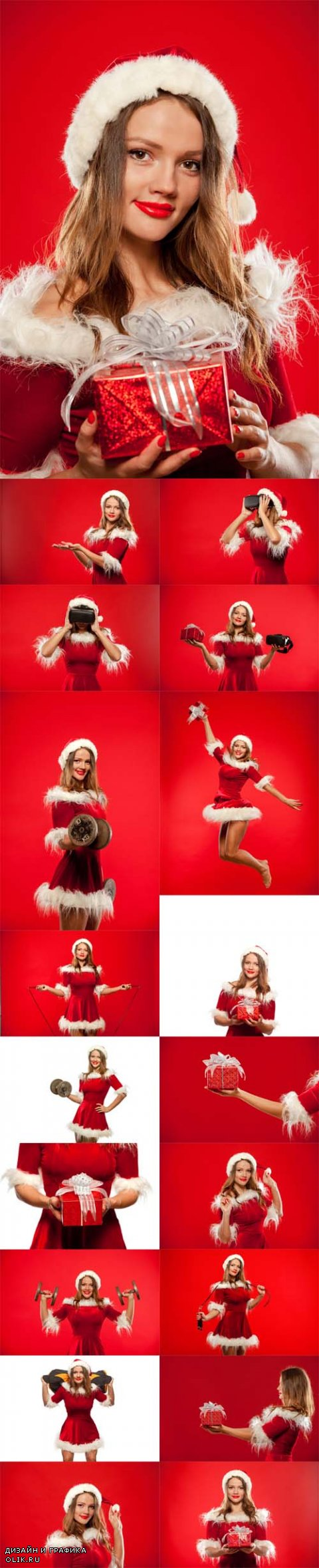 Photo Christmas, x-mas, winter, happiness concept woman in santa helper