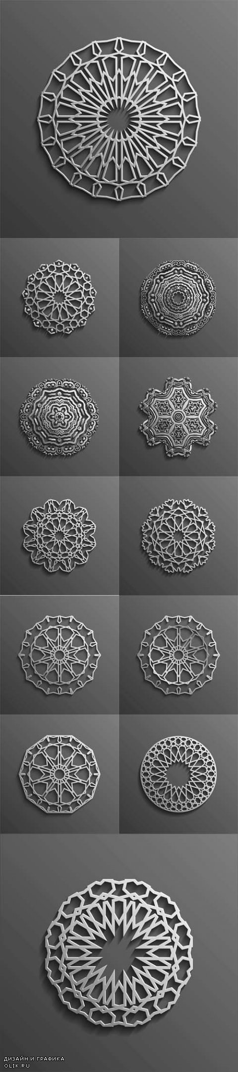 Vector Islamic 3d on dark mandala round ornament background architectural muslim texture design