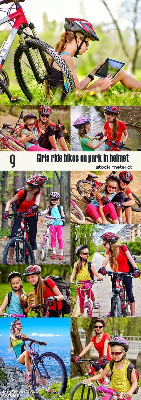 Girls ride bikes on park in helmet