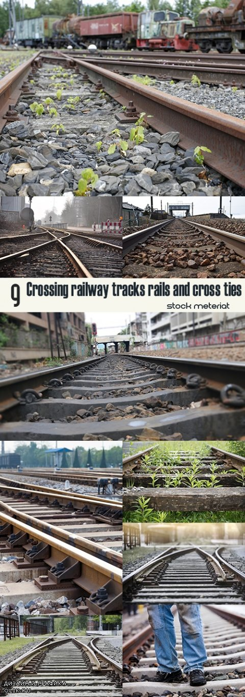 Crossing railway tracks rails and cross ties