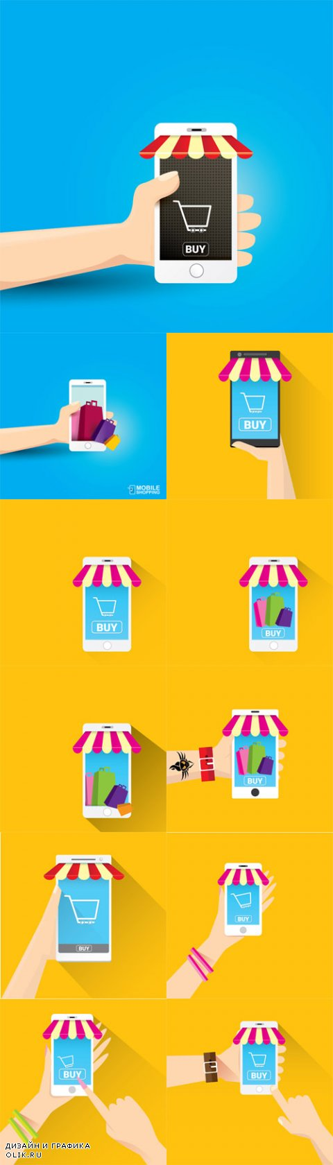 Vector Online Mobile Shopping Concept Backgrounds