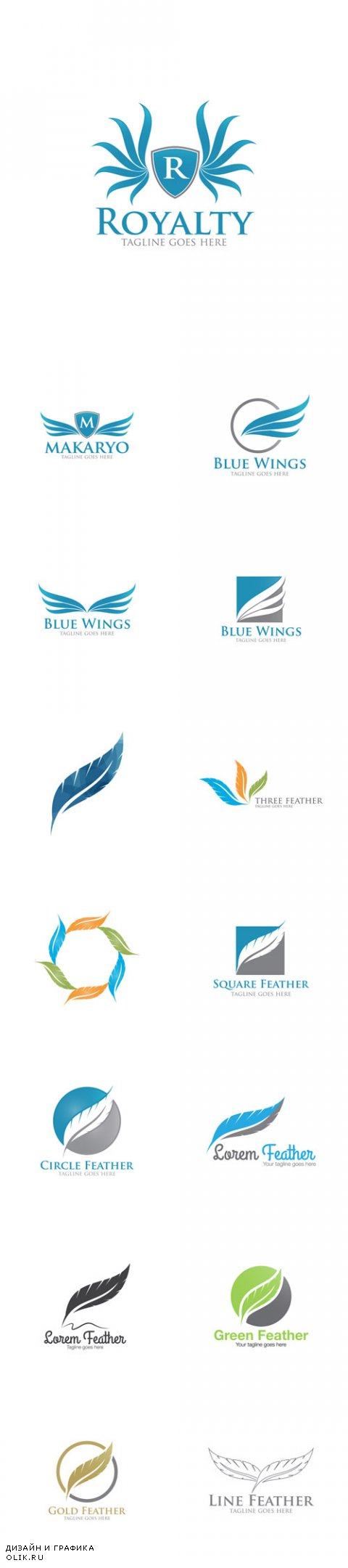 Vector Abstract Feather Logo Icon Templates
