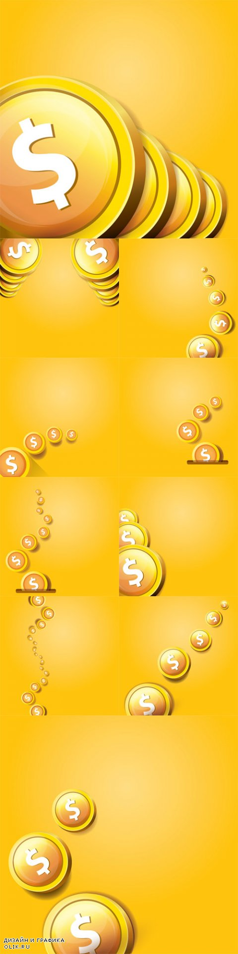Vector Abstract Business Background with Falling Coins