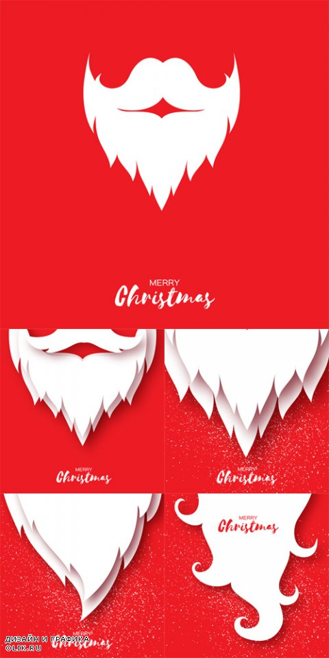 Vector Merry Christmas Card with Santa Claus Beard and Mustache