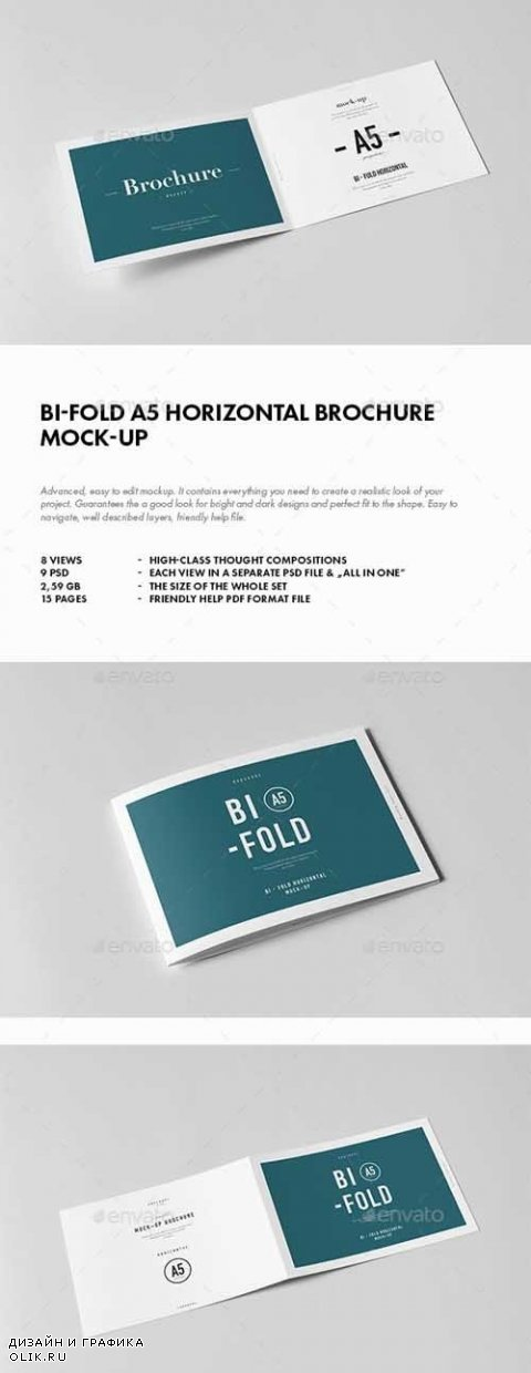 Bi-Fold A5 Horizontal Brochure Mock-up - 18271882