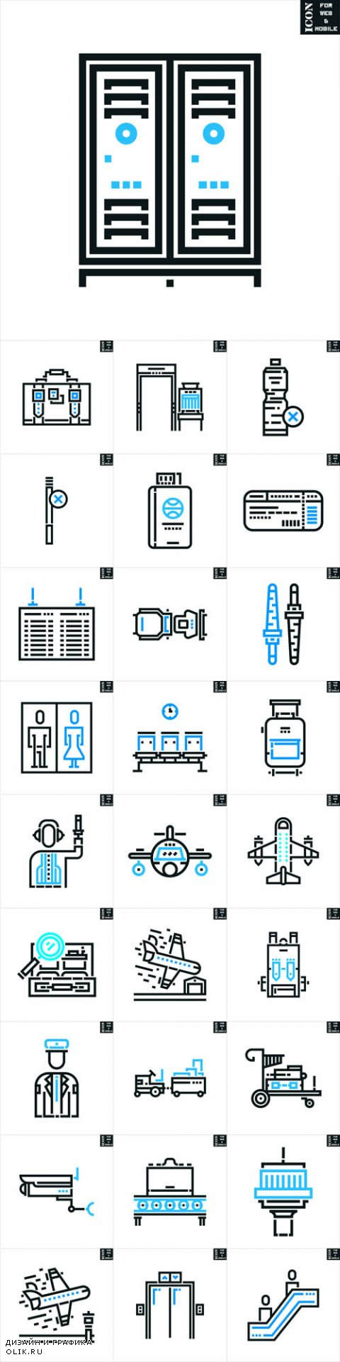 Vector Airport Line Icons