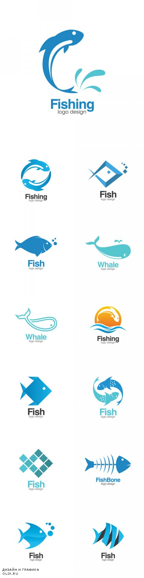 Vector Fish Creative Concept Logo Design Template
