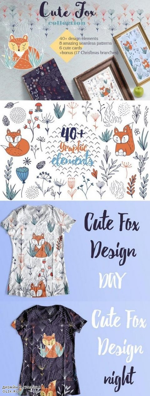 Cute fox.Vector design collection - 1012825