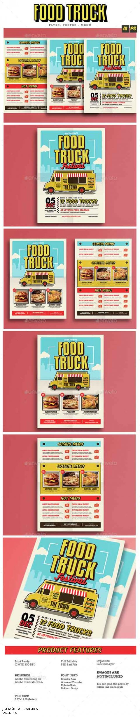 Pop Art Food Truck Flyer/Poster/Menu 14857358