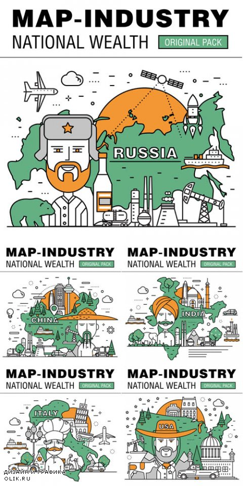 Vector Modern Country Development Flat Industry. Thin Line Map Concept