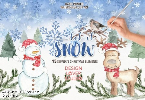 "Watercolor ""Let it snow"" clip arts - 924084"