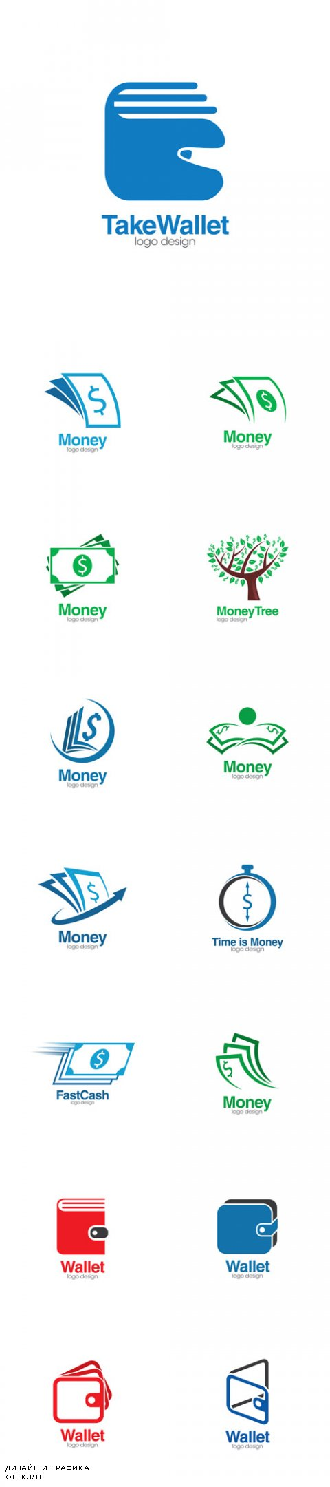 Vector Wallet and Money Creative Concept Logo Design Template