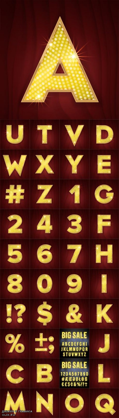 Vector Gold Ligh Llamp Bulb Letters and Numbers