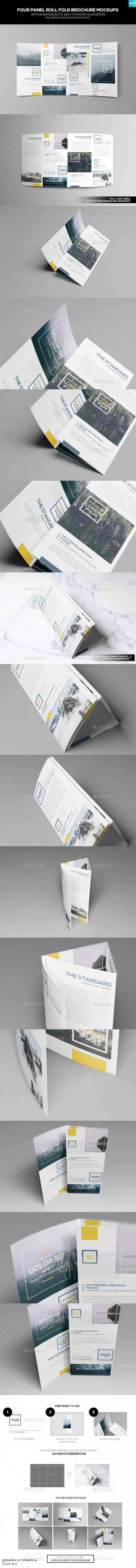 Four Panel Roll Fold Brochure Mockups 17374690