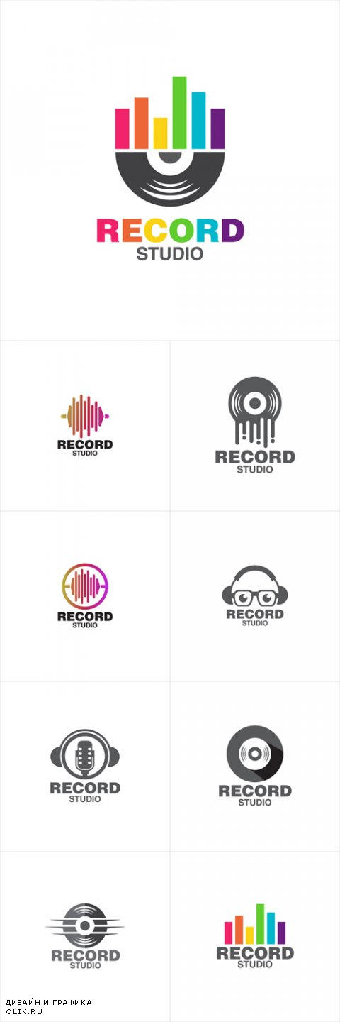Vector Record Music Concept Logo Icon Template