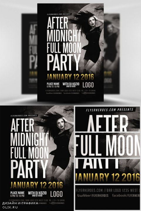 Flyer Template - After Midnight Full Moon
