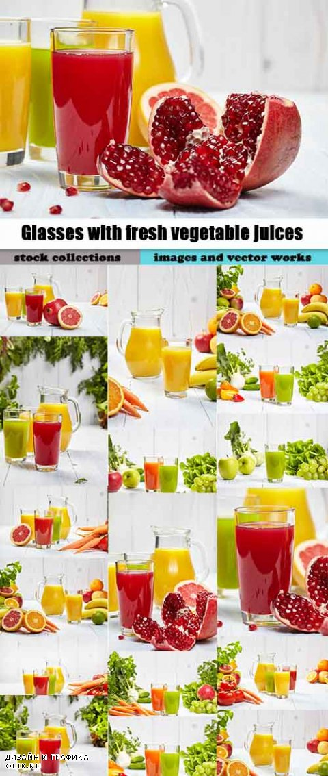 Glasses with fresh vegetable juices isolated on black