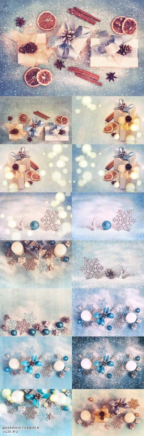 Photo Christmas Gifts Boxes with Bows and Cones Vintage Tinted and Snow