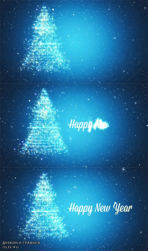 HD Footage - Looped background with Christmas tree of magic particles. Winter festive background with falling snowflake
