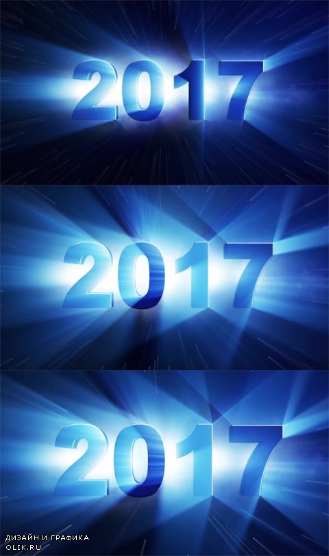 HD Footage - 2017 New Year Text Animation Lights Rays Background, Loop, 4k