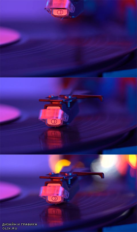 HD Footage - The needle drops on the disc, macro. Vinyl disc turning on retro record player