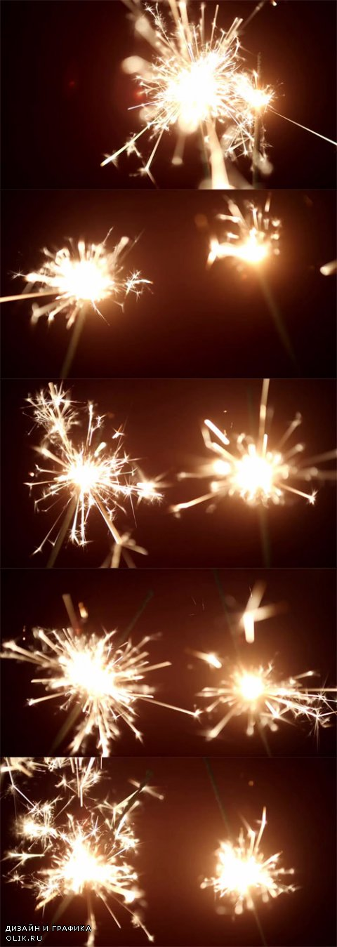 HD Footage - Two sparkler shining bright with red background
