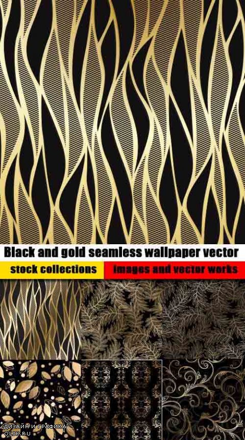 Black and gold seamless wallpaper vector