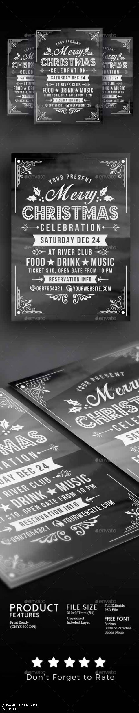 Christmas Celebration Flyer Chalk Style 18884585