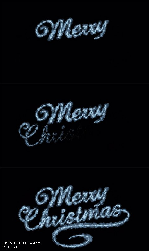 HD Footage - Beautiful Animation of Freezing Text Appearing. Merry Christmas Theme