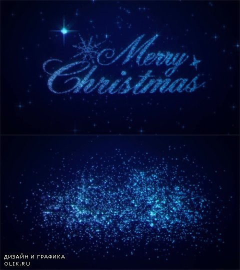 HD Footage - Merry Christmas! New Years and Christmas Eve intro and opener blue with snowflakes